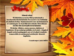 Felicitare Ziua pedagogului_